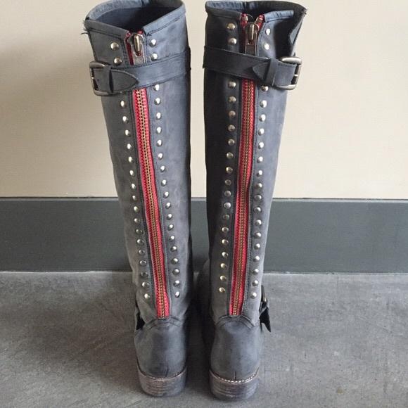 e114ce1265c Steve Madden Shoes   Tall Riding Boots Red Zipper Studded   Poshmark